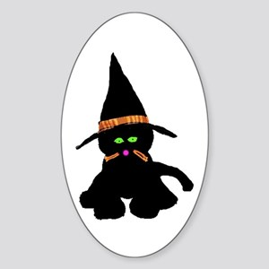 Halloween Kitty Oval Sticker