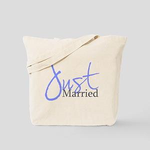 Just Married (Blue Script) Tote Bag
