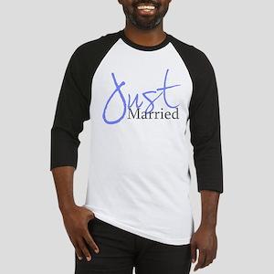 Just Married (Blue Script) Baseball Jersey
