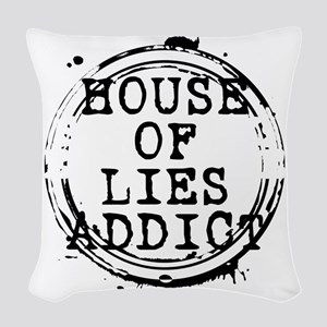 House of Lies Addict Stamp Woven Throw Pillow