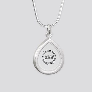 Elementary Addict Stamp Silver Teardrop Necklace