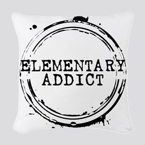 Elementary Addict Stamp Woven Throw Pillow