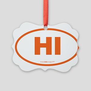 Hawaii HI Euro Oval Picture Ornament