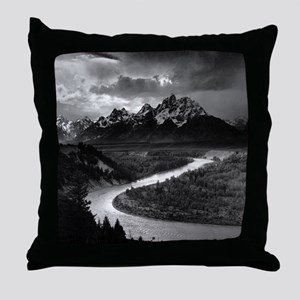 Ansel Adams The Tetons and the Snake  Throw Pillow