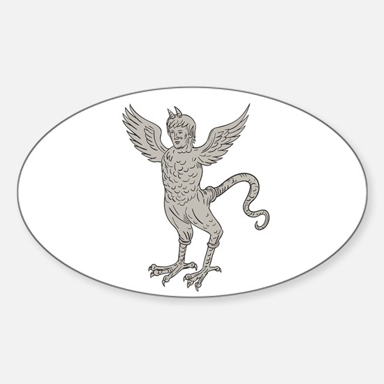 Ancient Winged Monster Drawing Decal