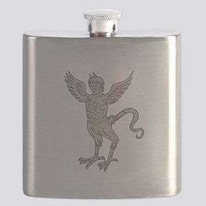 Ancient Winged Monster Drawing Flask