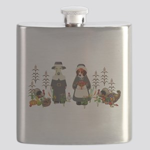 Thanksgiving Dogs Flask