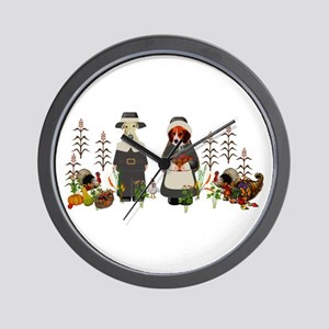 Thanksgiving Dogs Wall Clock