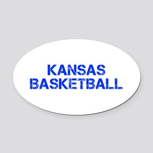 KANSAS basketball-cap blue Oval Car Magnet