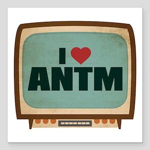 "Retro I Heart ANTM Square Car Magnet 3"" x 3"""