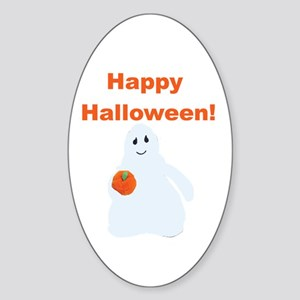 Halloween Ghost Oval Sticker