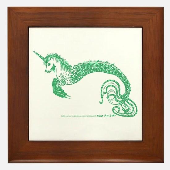 Jade Jewelled Aquatic Unicorn Framed Tile