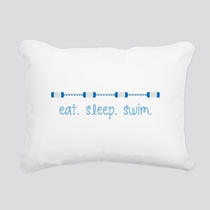 Eat Sleep Swim Rectangular Canvas Pillow