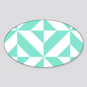 Seafoam Green Geometric Cube Patter Sticker (Oval)