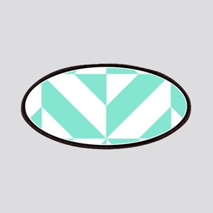 Seafoam Green Geometric Cube Pattern Patch
