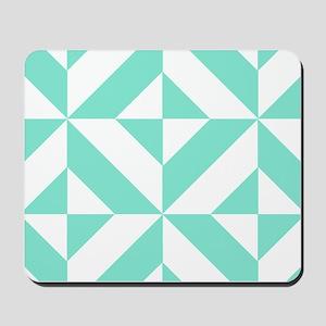 Seafoam Green Geometric Cube Pattern Mousepad