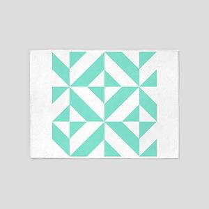 Seafoam Green Geometric Cube Patter 5'x7'Area Rug