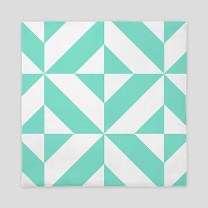 Seafoam Green Geometric Cube Pattern Queen Duvet