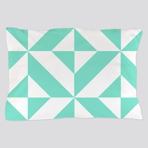 Seafoam Green Geometric Cube Pattern Pillow Case
