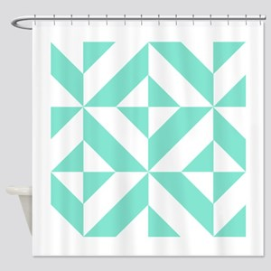Seafoam Green Geometric Cube Patter Shower Curtain