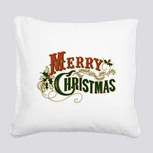 Merry Christmas Square Canvas Pillow