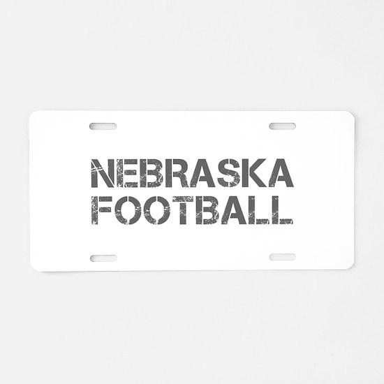 NEBRASKA football-cap gray Aluminum License Plate