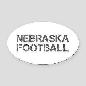 NEBRASKA football-cap gray Oval Car Magnet