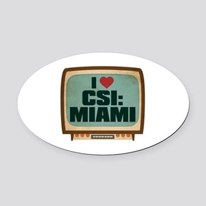 Retro I Heart CSI: Miami Oval Car Magnet