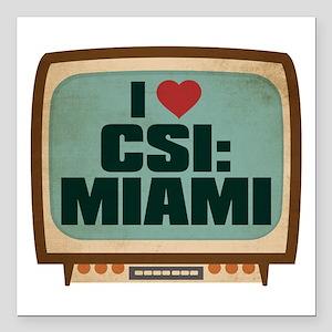 """Retro I Heart CSI: Miami Square Car Magnet 3"""" x 3"""""""