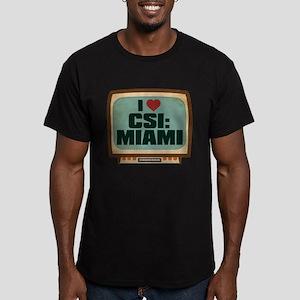 Retro I Heart CSI: Miami Men's Dark Fitted T-Shirt