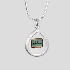Retro I Heart Charmed Silver Teardrop Necklace