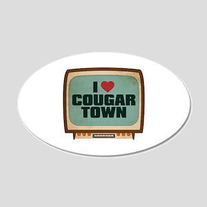 Retro I Heart Cougar Town 22x14 Oval Wall Peel