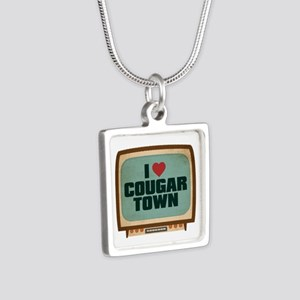 Retro I Heart Cougar Town Silver Square Necklace