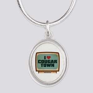 Retro I Heart Cougar Town Silver Oval Necklace