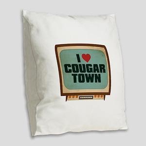 Retro I Heart Cougar Town Burlap Throw Pillow