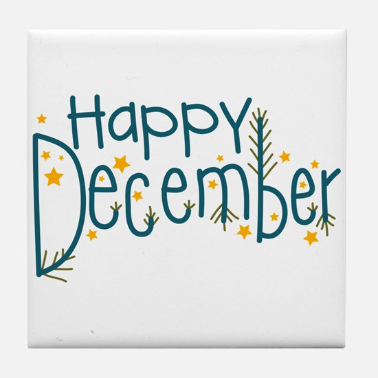 Happy December Tile Coaster