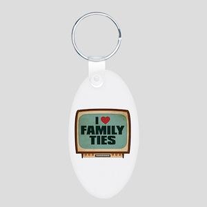 Retro I Heart Family Ties Aluminum Oval Keychain