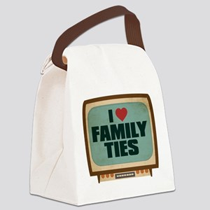 Retro I Heart Family Ties Canvas Lunch Bag