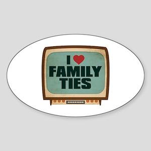 Retro I Heart Family Ties Oval Sticker
