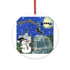 Snowman in Square Round Ornament