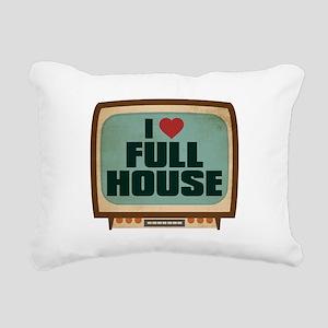 Retro I Heart Full House Rectangular Canvas Pillow