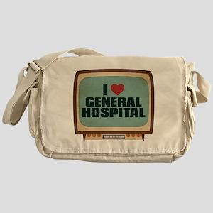 Retro I Heart General Hospital Canvas Messenger Ba