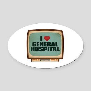 Retro I Heart General Hospital Oval Car Magnet