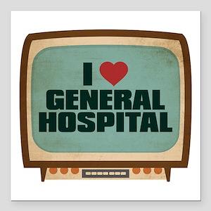 Retro I Heart General Hospital Square Car Magnet 3