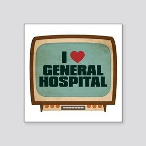 "Retro I Heart General Hospital Square Sticker 3"" x"
