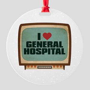 Retro I Heart General Hospital Round Ornament