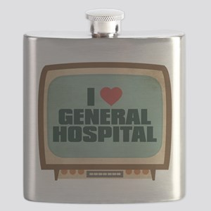 Retro I Heart General Hospital Flask