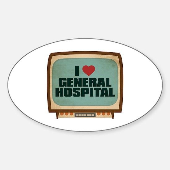 Retro I Heart General Hospital Oval Decal