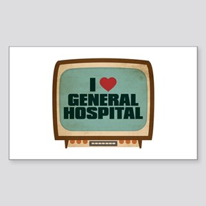 Retro I Heart General Hospital Rectangle Sticker