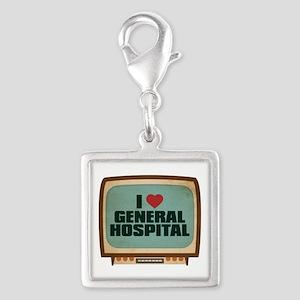 Retro I Heart General Hospital Silver Square Charm
